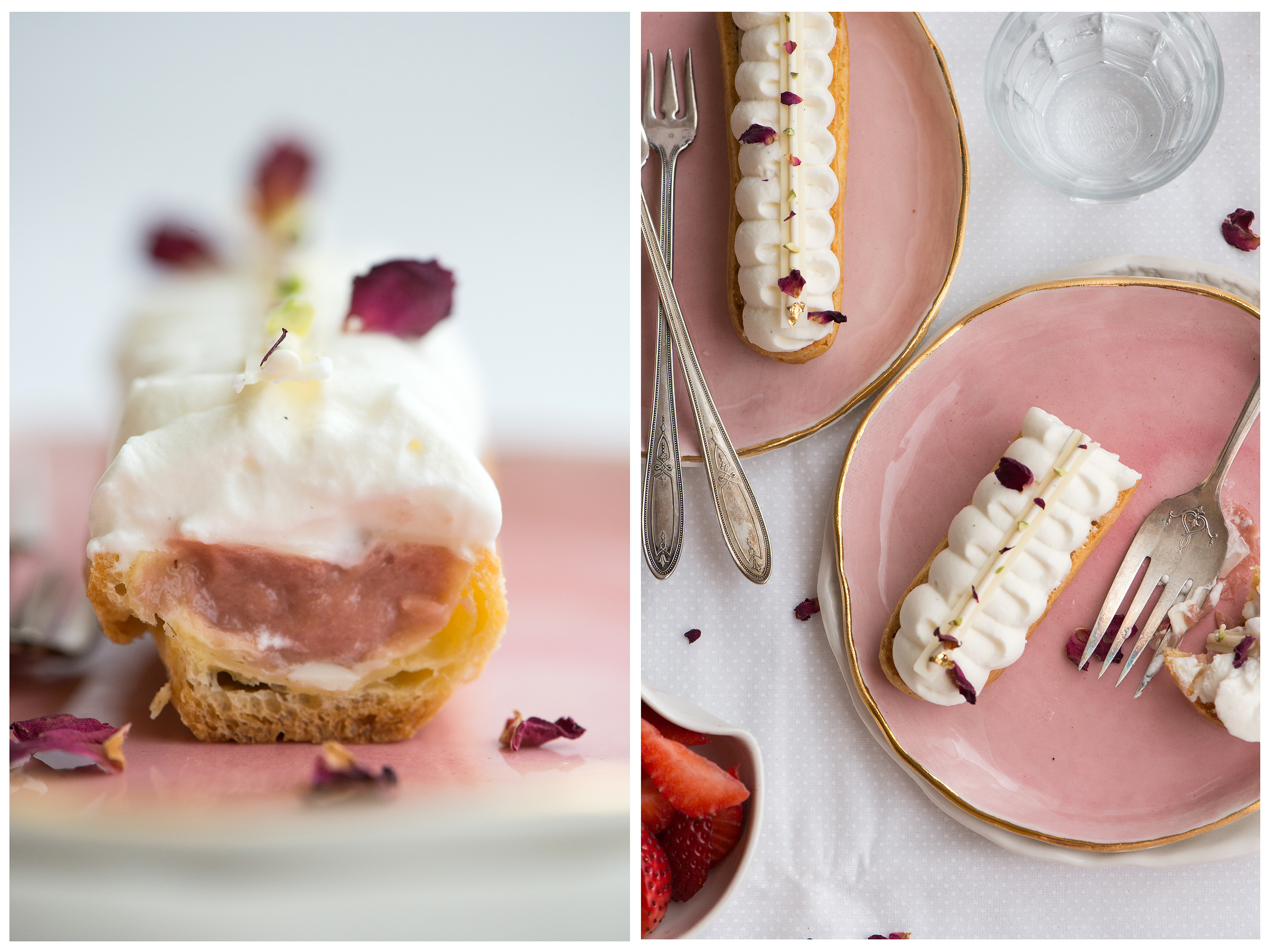 Strawberry Rose Eclairs | Now, Forager | Teresa Floyd Photography