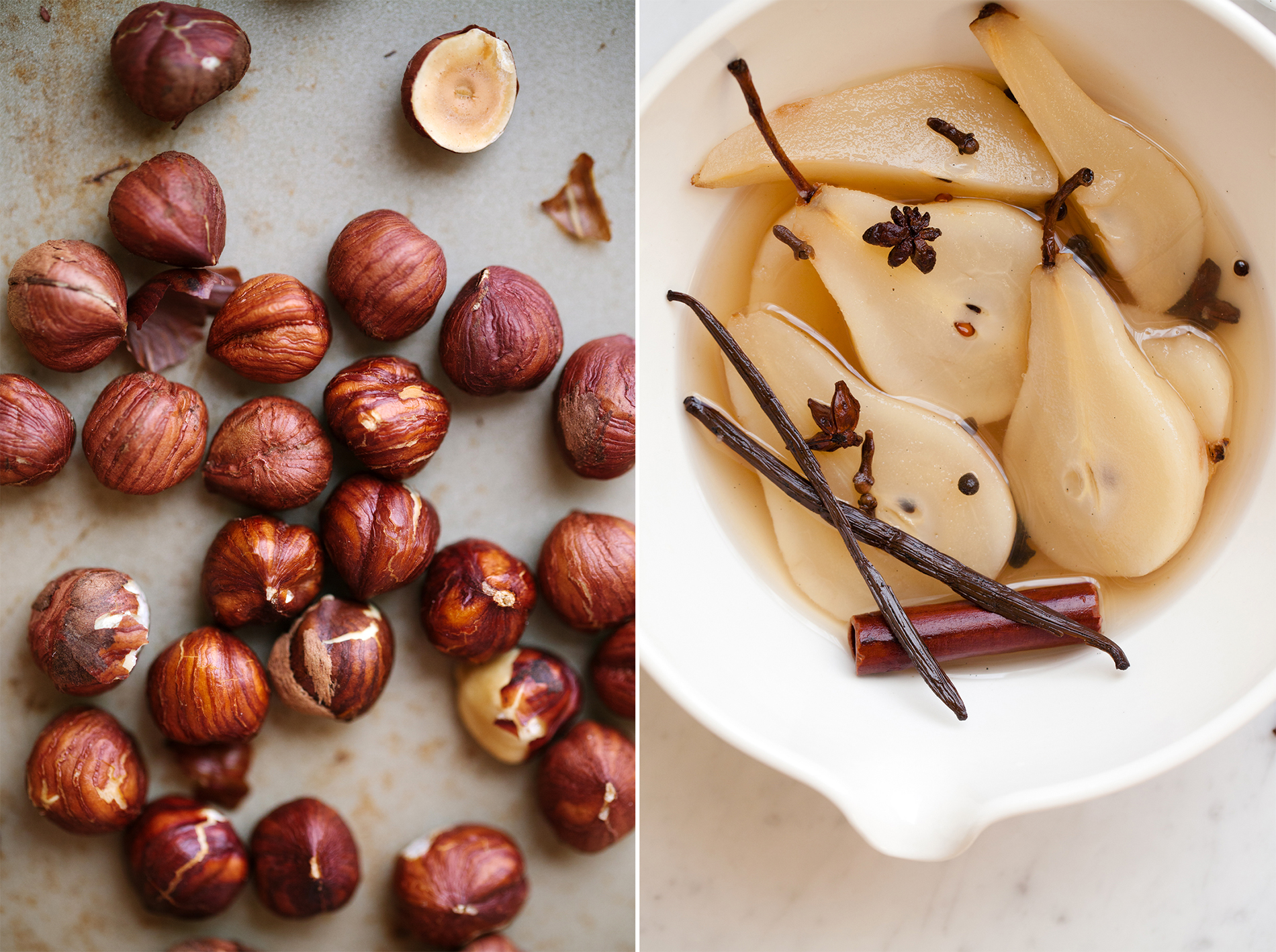 Hazelnuts and Spiced Poached Pears | Now, Forager | Teresa Floyd Photography