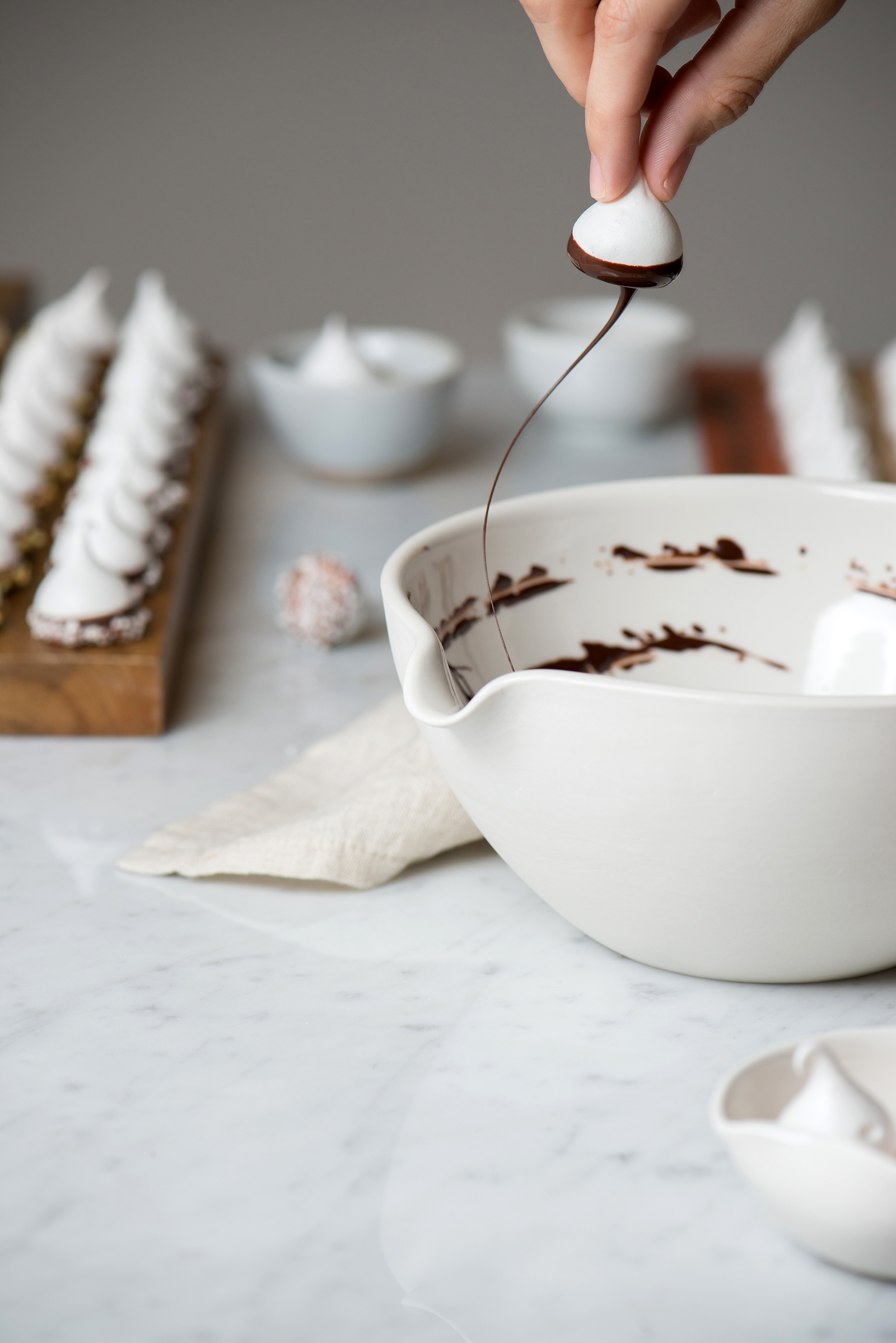 Ghirardelli Chocolate Dipped Holiday Meringue | Now, Forager | Teresa Floyd Photography