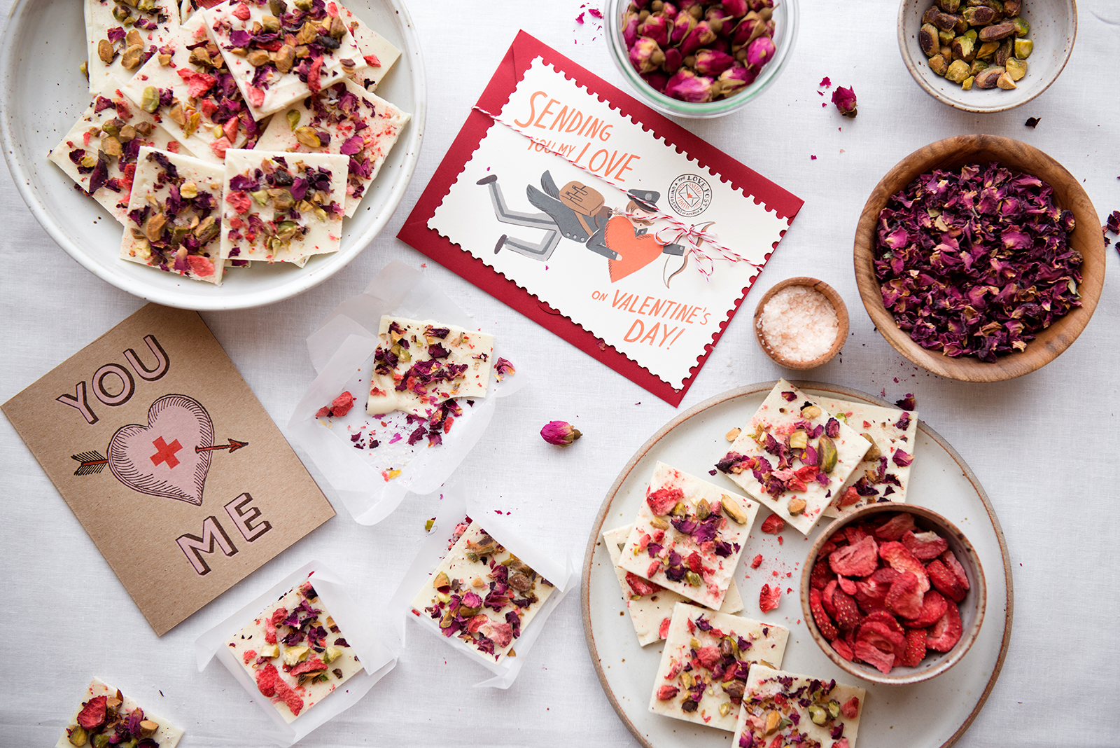 Valentine's Day Rose, Pistachio, & Strawberry White Chocolate Bark With Pink Sea Salt | Now, Forager | Teresa Floyd Photography
