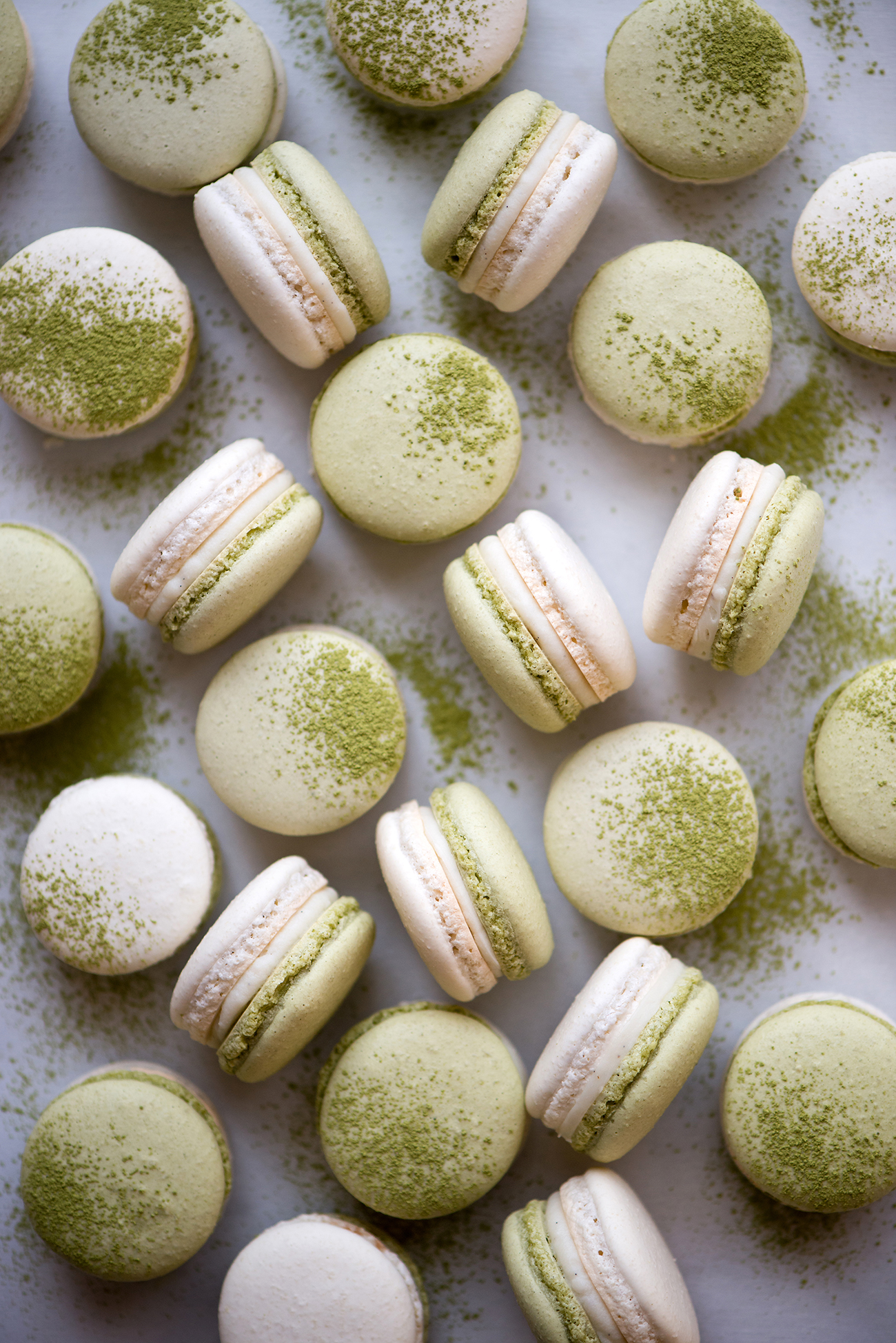 Matcha, Coconut, & Strawberry Macarons | Now, Forager | Teresa Floyd