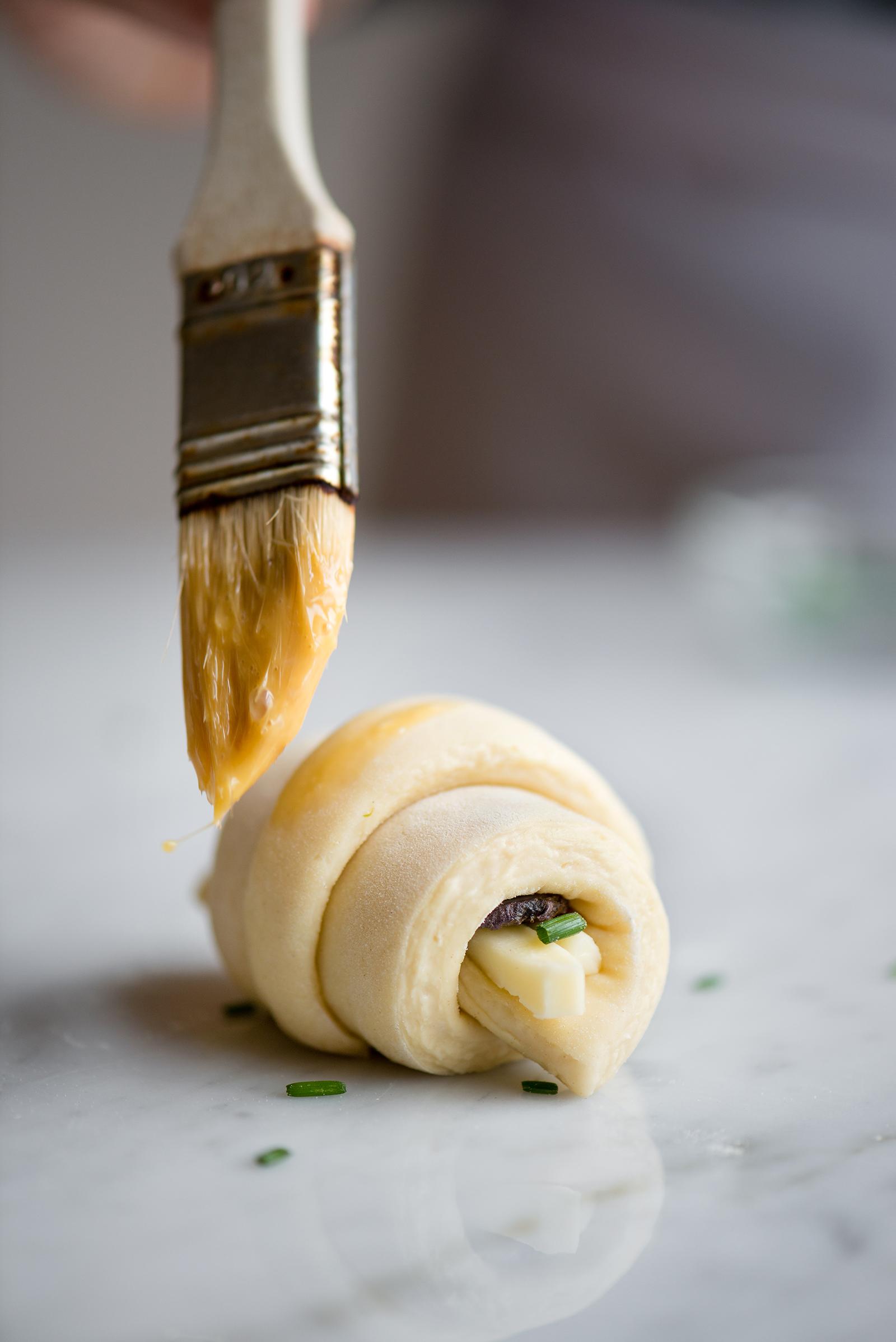 Eggwashing Purple Potato, Asparagus And Havarti Savory Croissants | Now, Forager | Teresa Floyd