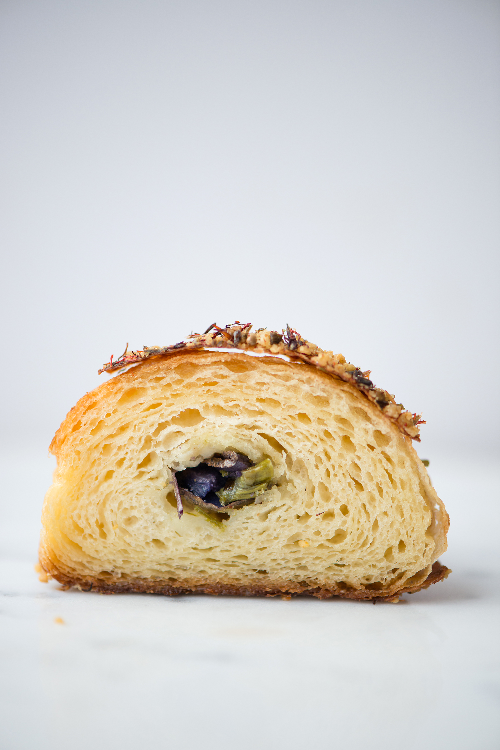 Purple Potato, Asparagus And Havarti Croissant Cross Section | Now, Forager | Teresa Floyd