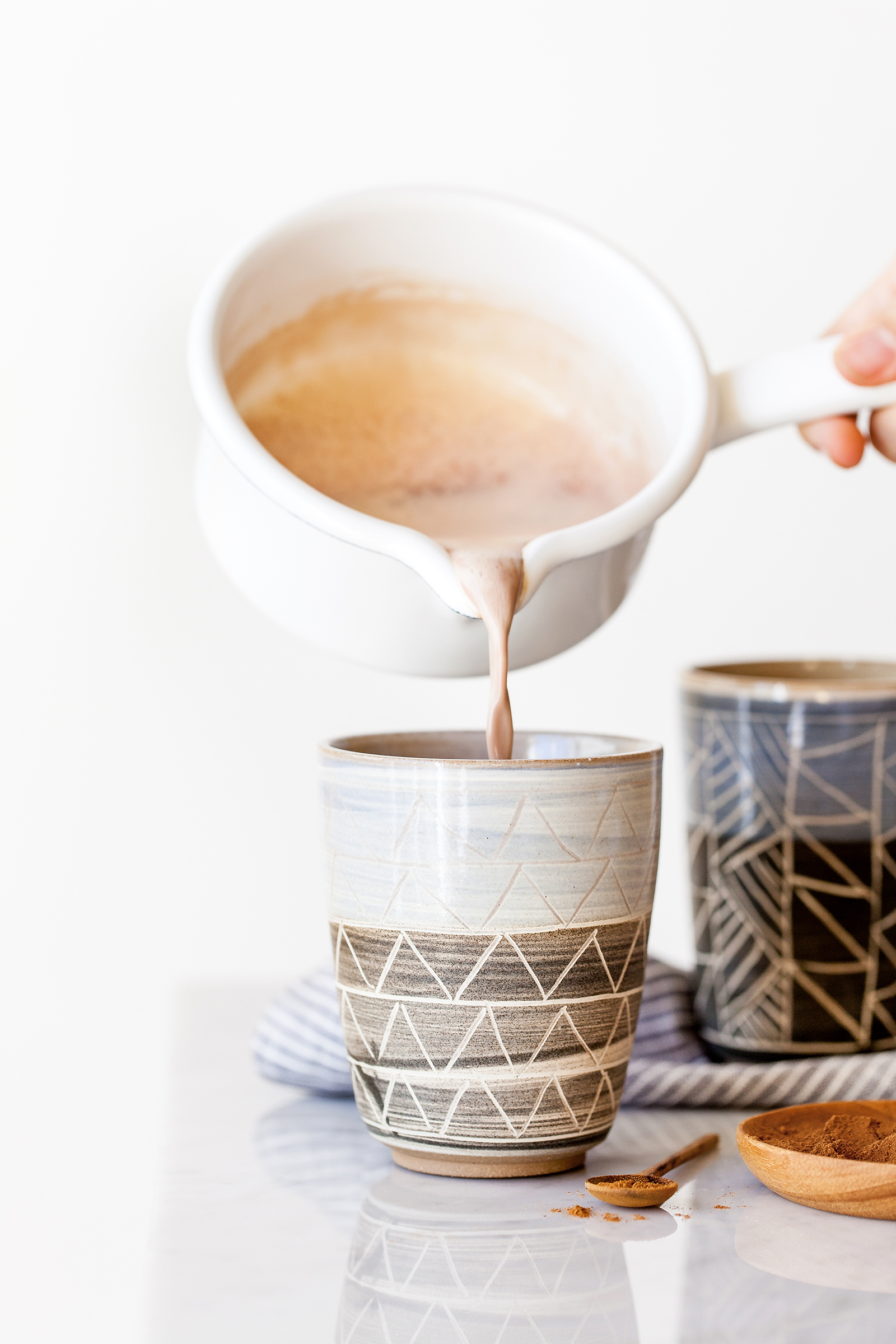 Pouring Frothy Chai Hot Chocolate | Now, Forager | Teresa Floyd