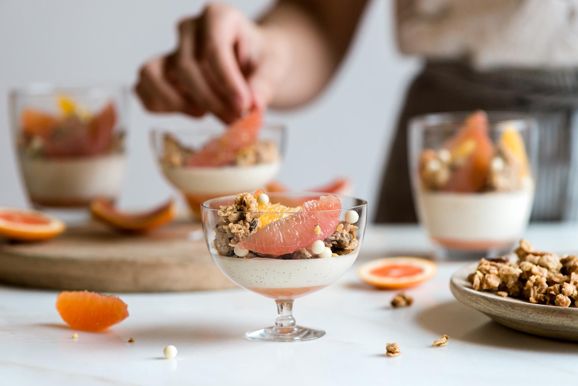 Citrus & Coconut Panna Cotta with Coconut Cashew Granola | Now, Forager | Teresa Floyd